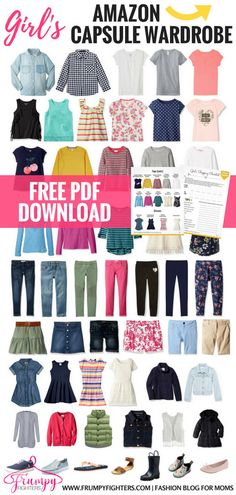 Kid's Capsule Wardrobe Plans & Checklists + Step-by-Step on How to Simplify Your Child's Wardrobe This is THE BEST girl's capsule wardrobe plan because it's [. Girls Fashion Clothes, Kids Outfits Girls, Tween Fashion, Toddler Fashion, Toddler Outfits, Girl Fashion, Girl Outfits, Toddler Girls, Kids Girls