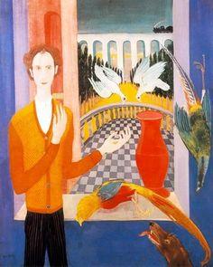 Paizs Goebel Jenő - Aranykor: Önarckép galambokkal , 1931  falemez, tempera (Magyar Nemzeti Galéria, Budapest)