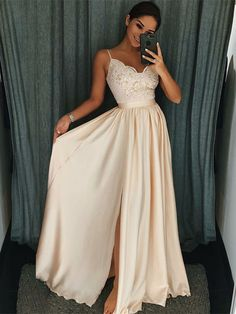 A-Line Spaghetti Straps Pearl Pink Elastic Satin Prom Dress with Appliques M2492