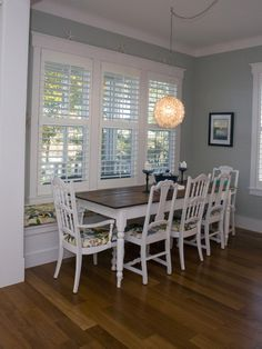 window bench and dining room table set up