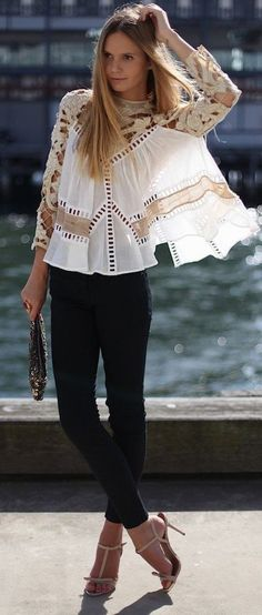White laced blouse for business lookbook