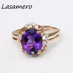 LASAMERO 8*10mm Round Cut  Fashion Natural Purple Amethyst Engagement Wedding  Ring For Women Solid 925 Sterling Silver Jewelry