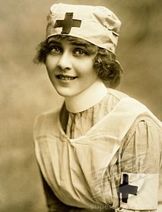☤ MD ☞☆☆☆ Hollywood, California c. Silent film actress June Caprice wearing a Red Cross nurses uniform as a promotion for buying WWI Liberty Loan Bonds.