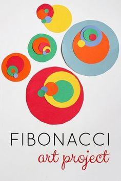 Fibonacci art project. Great S.T.E.A.M. math art project. Use decimal addition in geometry unit.