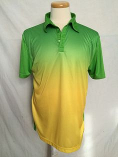 NWOT Mens Loudmouth Golf Polo Large Green Gold Yellow Short Sleeves | eBay