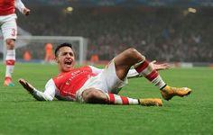 Alexis celebrates another brilliant goal for the Arsenal #ARSvBOR