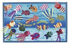 Ocean bulletin board- Back to School Fish Bulletin Boards, Back To School Bulletin Boards, Preschool Bulletin Boards, Rainbow Fish Bulletin Board, Bullentin Boards, Classroom Decor Themes, Classroom Ideas, Classroom Displays, Future Classroom