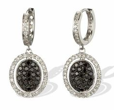 White and Black Diamond Dangling Oval Earrings in 14k White Gold