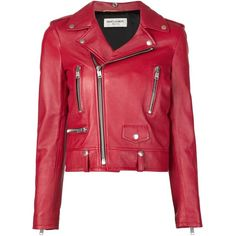 Saint Laurent Leather Biker Jacket ($4,990) ❤ liked on Polyvore featuring outerwear, jackets, kirna zabete, zipper leather jacket, real leather jacket, red zip jacket, leather jacket and leather motorcycle jacket