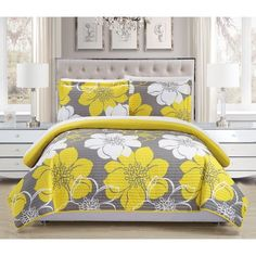 Chic Home Woodside 7 Piece Queen Bed in a Bag Quilt Set - Yellow Purple Bedding, Floral Bedding, Embroidered Bedding, White Bedding, King Quilt Sets, Queen Quilt, Queen Bedding, Bed In A Bag, Twin Quilt