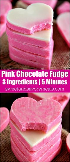 Pink White Chocolate Fudge is incredibly easy to make and very festive. 3 Ingredients, 5 minutes to get a creamy and irresistible fudge. No Bake and Gluten Free.
