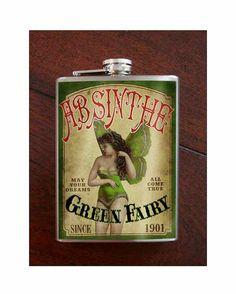 Absinthe Green Fairy Flask