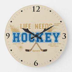 Life Needs Hockey Man Cave Room Decor Large Clock #pets #swimming #workouts hockey memes, field hockey, hockey girlfriend, dried orange slices, yule decorations, scandinavian christmas Quotes Girlfriend, Hockey Girlfriend, Rink Hockey, Flyers Hockey, Field Hockey, Hockey Man Cave, Hockey Room Decor, Hockey Quotes, Hockey Memes