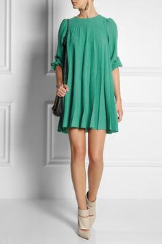RED Valentino|Pleated wool-crepe dress|NET-A-PORTER.COM