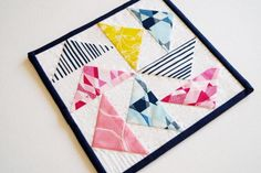 Spring Colors Mini Quilt in Pink, Yellow and Blue Patchwork Mini Place Mat by MyBitOfWonder on Etsy https://www.etsy.com/listing/267850665/spring-colors-mini-quilt-in-pink-yellow