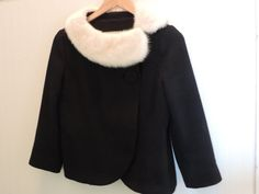 Vintage Wool Jacket featuring White Mink Collar Mid Century A Line fitted Blazer