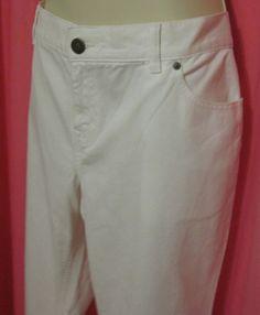 """Lands End Womens White Jeans 16 31"""" New Inseam Wide Leg Boot Cut 41"""" Waist  #LandsEnd #BootCut"""