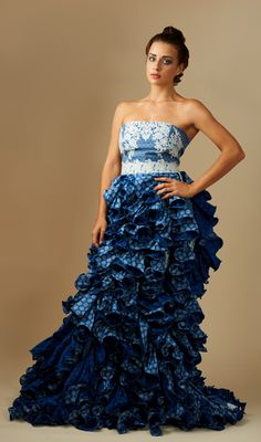 e1c83b7ca62 Navy blue Tswana shweshwe dress. Anna Simantov · Zodwa Bridal