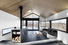 long forever views + plywood + simple + fireplace