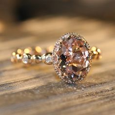 Floral Morganite Engagement Ring in 14k Rose Gold Diamond Pebble Ring 9x7mm Oval Pinkish Peach Morganite Wedding Ring (Bridal Set Available)...