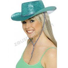 Cappello Cow Boy Glitter Turchese