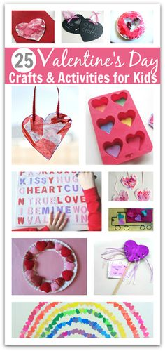There are some really cute ideas for Valentine's day! 25 Valentine's Day Crafts and Activities for kids. Perfect for a class party, gifts for loved ones or to keep little ones busy crafting at home! #craft #diy #kids