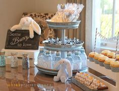 some bunny to love Beatrix Potter Peter Rabbit theme baby shower with grey chevron decorations dessert table