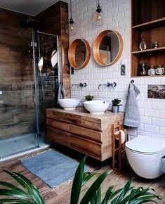 Helpful design of bright bathroom ideas 18 - small bathroom - Interior Design Wooden Vanity Unit, Wood Vanity, Wooden Drawers, Big Bathrooms, Master Bathroom, Bathroom Inspo, Earthy Bathroom, Bohemian Bathroom, Bathroom Pink