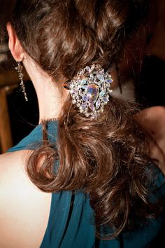 Now that's how to wear a brooch! Check out our collection of vintage brooches and get creative on styling them. #heirloomfinds