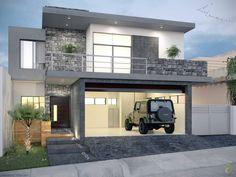 13 fachadas con garaje, perfectas para casas pequeñas (De GracielaGomezOrefebre)