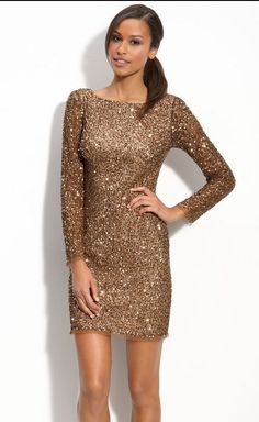 7830d336 Adrianna Papell Brown Sequin Shift Dress Long Sleeve Fully Beaded Gold  Embelish