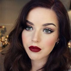 Vintage Makeup Stunning Burgundy Red Lips - Stunning Retro Beauty Looks to Rock This Holiday Season - Photos - When bright red lips aren't an option, tone down your retro makeup look by opting for a come-hither burgundy lip instead. Wedding Makeup For Brown Eyes, Wedding Makeup Tips, Eye Makeup Tips, Bride Makeup, Wedding Hair And Makeup, Makeup Hacks, Hair Makeup, Makeup Ideas, Retro Wedding Makeup