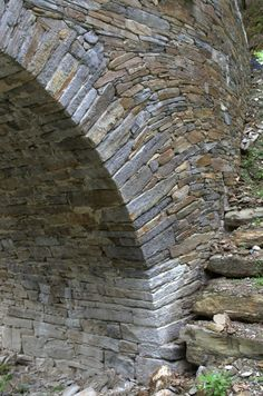 Stone bridge of Chadelcoste to St Andéol de Clerguemort, Cévennes, France.