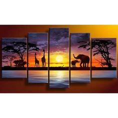 Cuadros Modernos Tripticos  Paisajes Africanos Texturados - $ 1.320,00