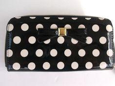 Black/Bone Dots Zip Around Wallet *NEW* #Apt9 #ClutchEnvelope