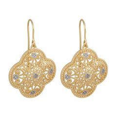 18k Yellow Gold Plated Sterling Silver Two-Tone Filigree Dangle Wire Earrings: Jewelry: Amazon.com
