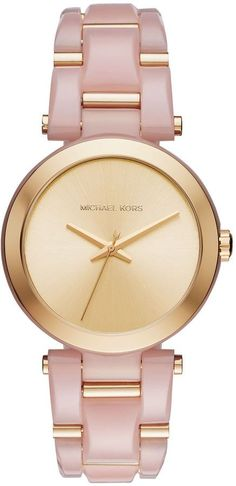 Michael Kors Women s Delray Blush Watch A stunning bracelet of gold-tone  and pink acetate links gives a colorful flair to the gold-tone sunray dial  of the ... 2dfa777cab