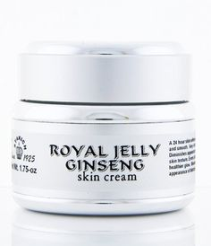 Royal Jelly and Ginseng skin cream 1.75-oz by Stakich. $30.00. A 24 hour skin softener and moisturizer. Apply it to face and neck daily to enjoy all of its health benefits    All natural - your skin is plumped, refreshed and replenished from deep within. Hydrates, firms, promotes radiance, improves elasticity, treats fine lines and wrinkles. Has an anti-oxidant potency, improves skin health and collagen renewal. Rejuvenates and brightens dull, sallow skin.   Con...