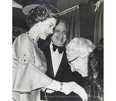 The Queen greets Agatha Christie by The British Monarchy, via Flickr-The Queen greeting Agatha Christie (1890-1976) at the premiere of Murder on the Orient Express at the ABC Theatre in 1974. Also in the photograph is the chairman of EMI Films, Nat Cohen. The film was based on Agatha Christie's book, published in 1934. It was produced by John Brabourne and starred Sean Connery, with Albert Finney as Hercule Poirot. © Royal Collection Trust © 2013, HM Queen Elizabeth II