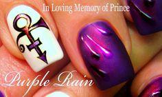 Prince Nail Art Design | Purple Rain Nails Nail Tutorial - YouTube