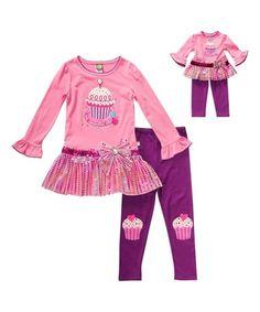 Look at this #zulilyfind! Pink & Purple Cupcake Pants Set & Doll Outfit - Toddler & Girls #zulilyfinds