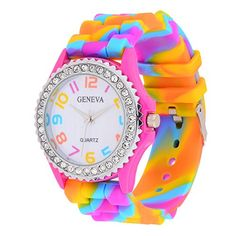 Mini Store Rainbow Silicone Band Quarts Wristwatch - Jewelry For Her