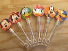 Mickey Mouse Club House Friends  Bubble Wands- Party Favors  Toppers are 1 1/2, made of premium card stock with 6 different images of Mickey Mouse and