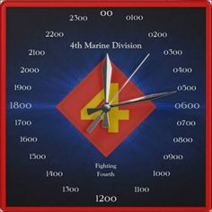 CLICK ONTO PHOTO 2 TIMES / DIRECT PRODUCT ACCESS. 4th Marine Division Wall Clock.