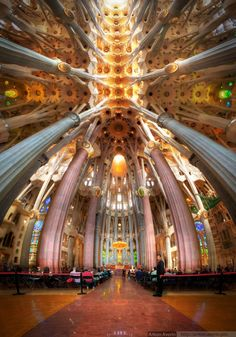 Interior of La Sagrada Familia, Barcelona, Catalonia, Spain - Antoni Gaudi I cant wait to go back when it is completed. Beautiful Architecture, Beautiful Buildings, Architecture Art, Beautiful Places, Gaudi Barcelona, Barcelona Catalonia, Casa Gaudi, Places Around The World, Around The Worlds