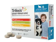 Our doctors highly recommend Trifexis for all around flea, heartworm, and internal parasite protection! It is a once a month oral tablet and starts working in just 30 minutes. Don't forget to give each dose with a full meal. Dogs should be tested for heartworm prior to giving this medication and pet owners should do their best not to miss doses.