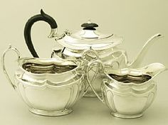 A fine and impressive antique George V English sterling silver three piece tea service/set; an addition to our silver teaware collection. SKU: W9015 Price: GBP £1,395.00 http://www.acsilver.co.uk/shop/pc/Sterling-Silver-Three-Piece-Tea-Service-Antique-George-V-67p6335.htm#.U9uIcM9OXcs