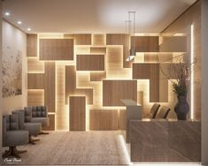 Commercial Reception Highlighted illuminated panel design by Camila Pimenta. Wall Panel Design, Wall Decor Design, Decoration Design, Wall Partition Design, 3d Wall Decor, Office Interior Design, Interior Walls, Interior Decorating, Office Cabin Design