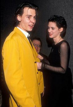 """Johnny Depp and Winona Ryder at the Cry-Baby Premiere, April 1990 "" Johnny Depp Winona Ryder, Young Johnny Depp, Marlon Brando, Winona Forever, Johny Depp, Poses, Brad Pitt, Eminem, Role Models"