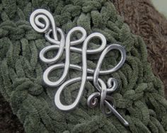 Aluminum Celtic Tree Shawl Pin, Scarf Pin, Sweater Clip Brooch, Fastener, Women Knitting Accessory, Christmas Tree, Tree of Life,